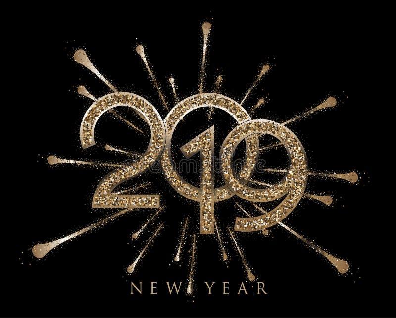Goldene funkelnde Buchstaben des neuen Jahres 2019 mit Feuer arbeiten an dem Hintergrund lizenzfreie abbildung