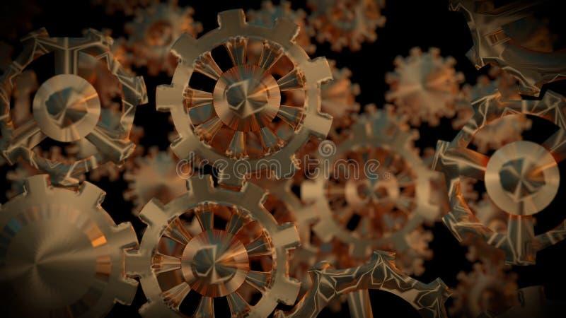 Goldene Gänge im schwarzen Hintergrund 3d übertragen vektor abbildung