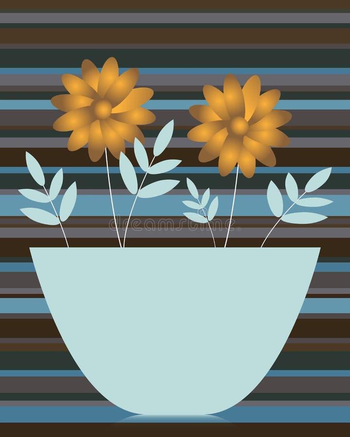 Goldene Gänseblümchen in einem Vase lizenzfreie abbildung