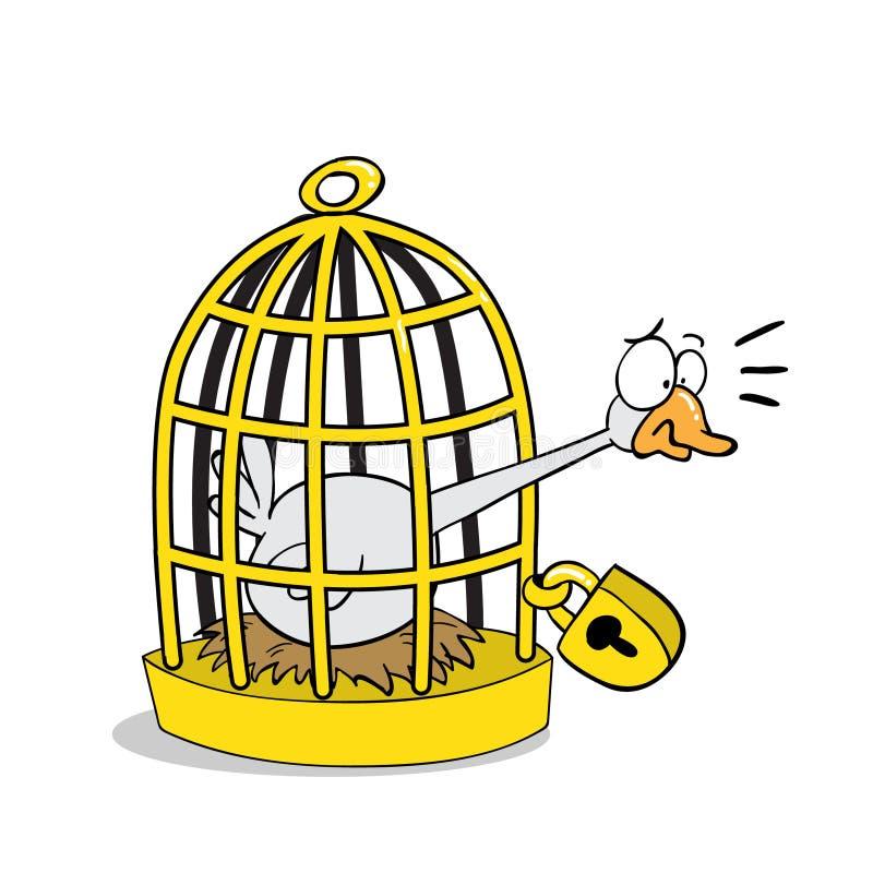 Goldene Gans zugeschlossen innerhalb des Käfigs vektor abbildung