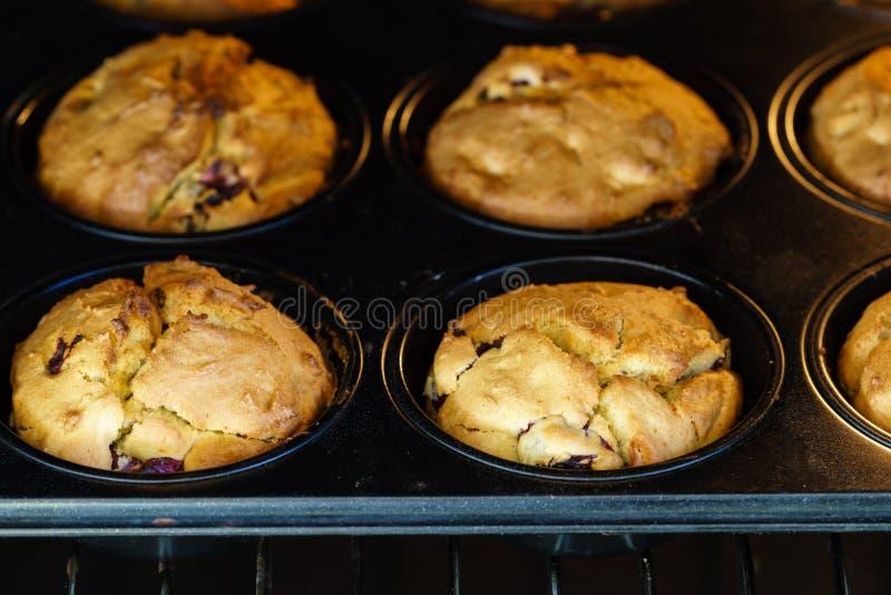 Goldene gebackene Vanille-Kirschmuffins des strengen Vegetariers in einem Ofen - Nahaufnahme lizenzfreie stockfotografie