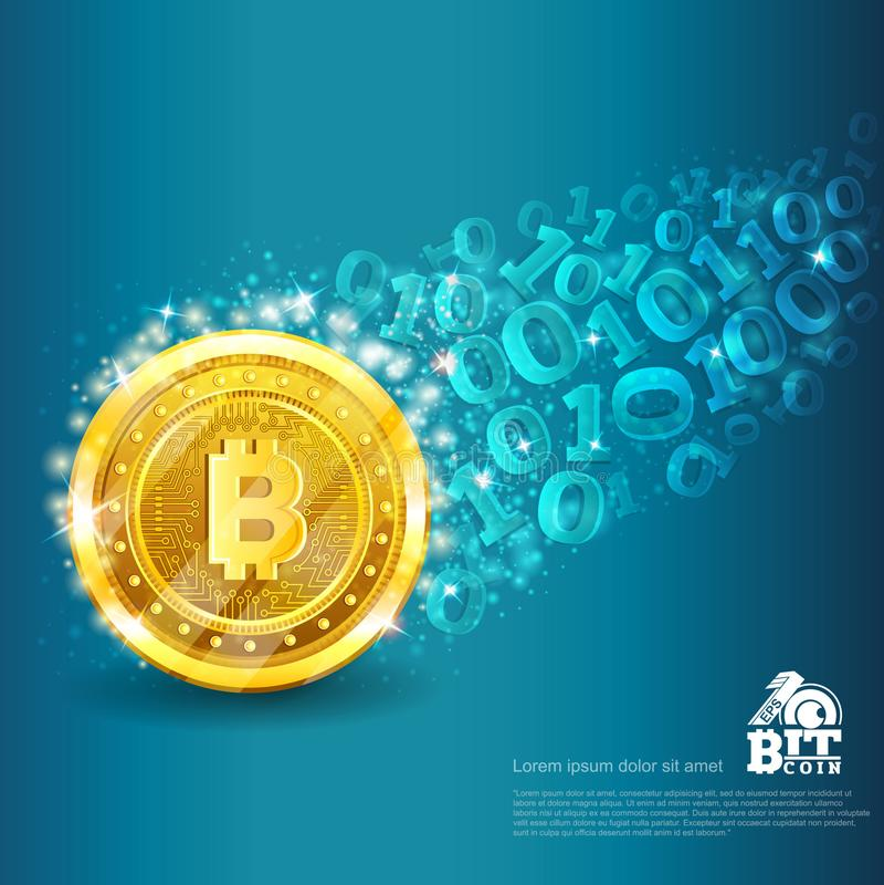 Goldene gebissene Münze mit Spur vom binär Code auf Blau Abstrakter vektorgeschäftshintergrund vektor abbildung