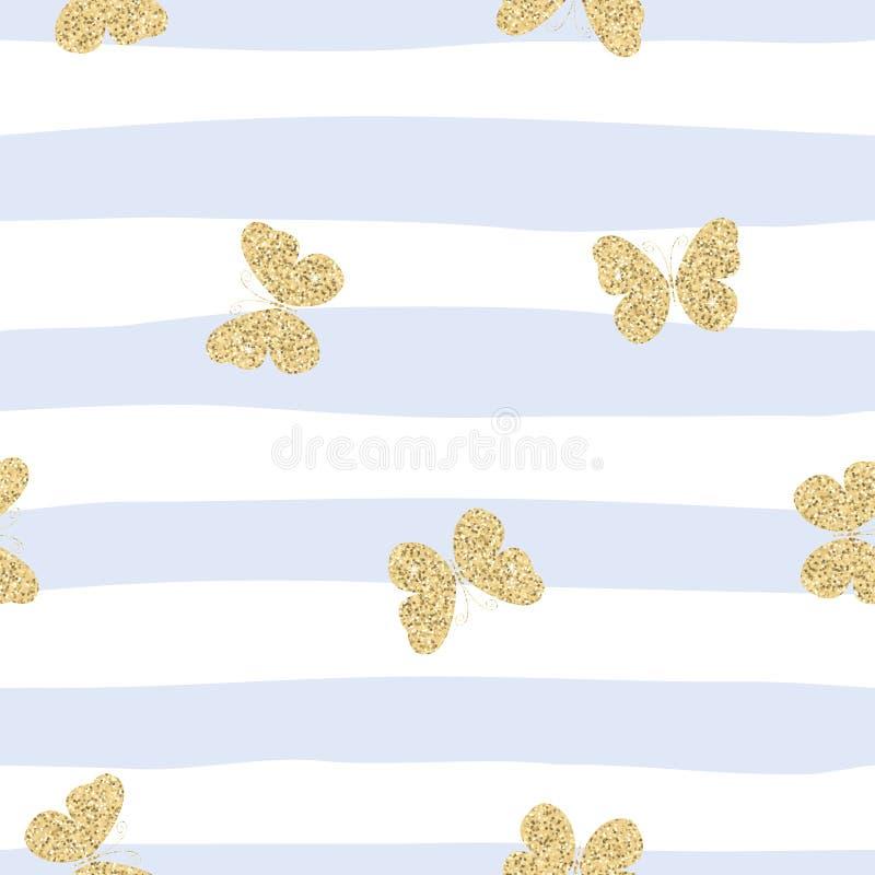 Goldene gelbe funkelnde Schmetterlinge auf blauem gestreiftem Hintergrund Nettes nahtloses Muster vektor abbildung
