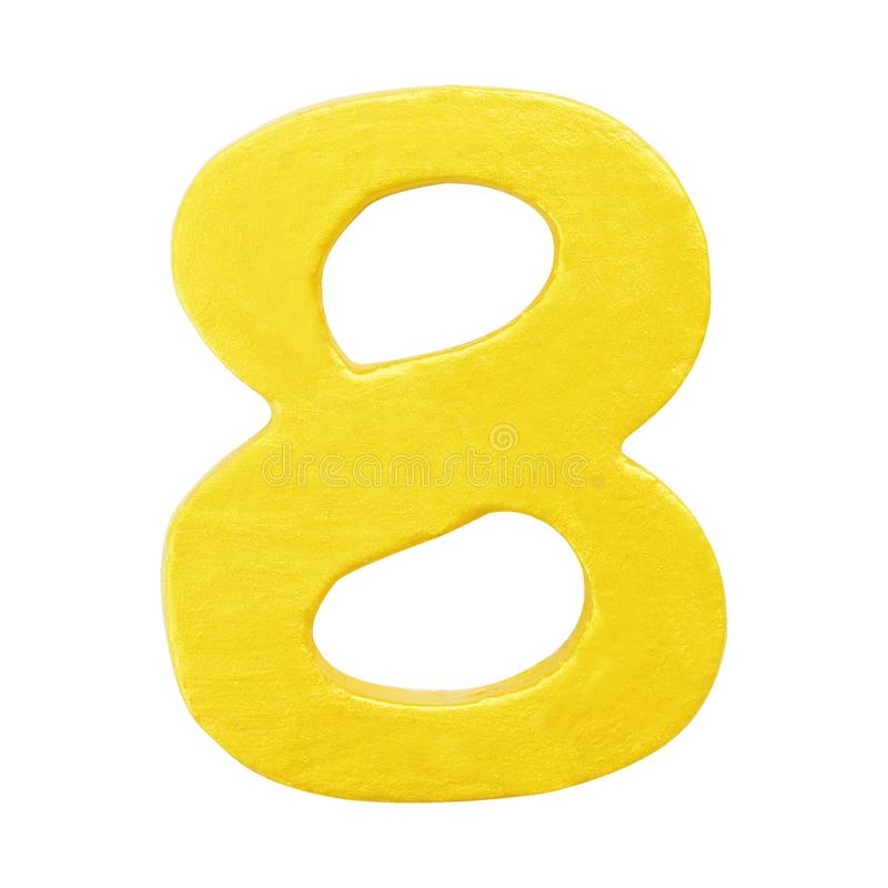 Goldene gelbe hölzerne Nr. 8 oder acht lokalisierte weißen Hintergrund Ein der vollen Zahl lizenzfreie stockbilder