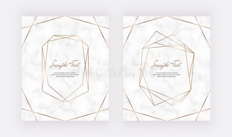 Goldene geometrische Polygonlinien auf der weißen Marmorstruktur Trendy Templates für Hochzeitseinladung, Banner, Flyer, Poste vektor abbildung