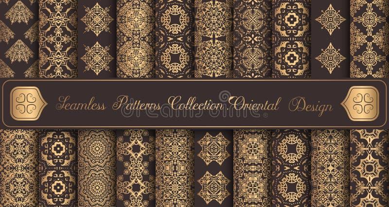 Goldene Gestaltungselemente der nahtlosen Luxusmuster der Weinlesehintergr?nde vektor abbildung