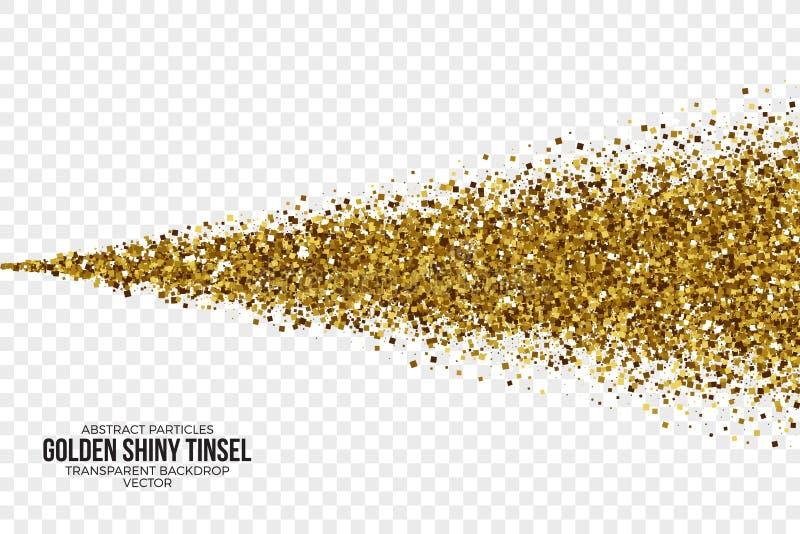 Goldene glänzende Tinsel Square Particles Vector Background stock abbildung