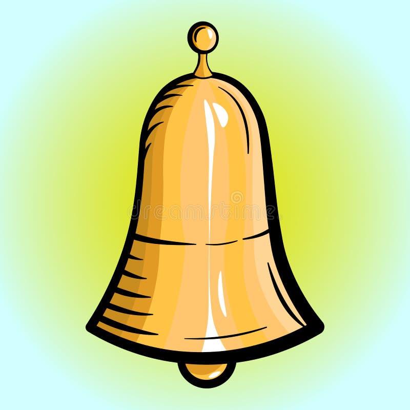 Goldene Glocke auf einem hellen Hintergrund lizenzfreie abbildung