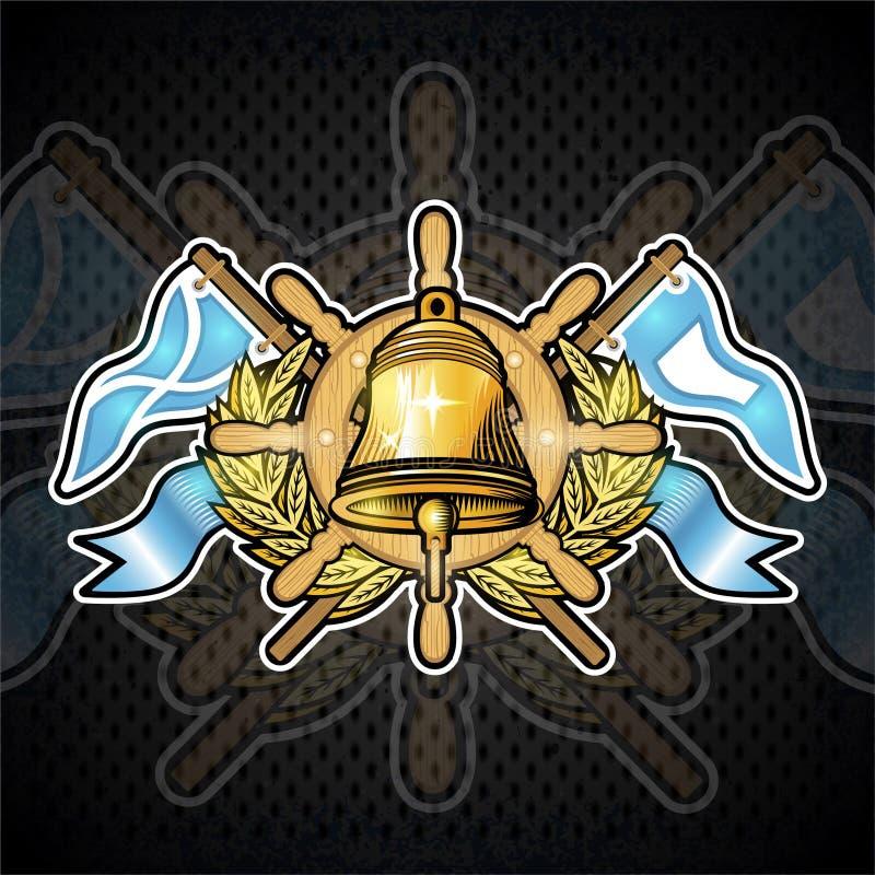 Goldene Glocke auf Lenkrad zwischen goldenem Kranz und Flaggen auf Tafel Sportlogo für irgendeinen Segelsport oder segeln Team stock abbildung