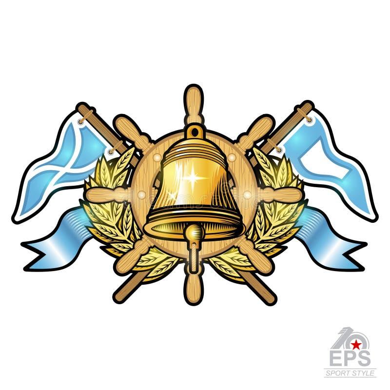 Goldene Glocke auf Lenkrad zwischen goldenem Kranz und Flaggen auf Weiß Sportlogo für irgendeinen Segelsport oder segeln Team vektor abbildung