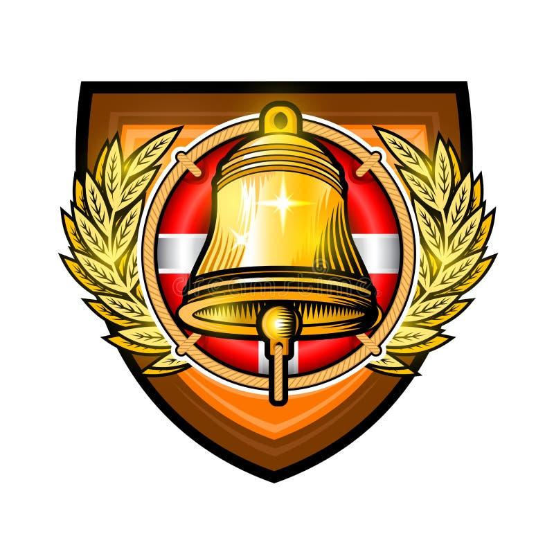 Goldene Glocke auf rotem Rettungsring mitten in goldenem Kranz in der Mitte des Schildes Sportlogo für irgendeinen Segelsport ode vektor abbildung