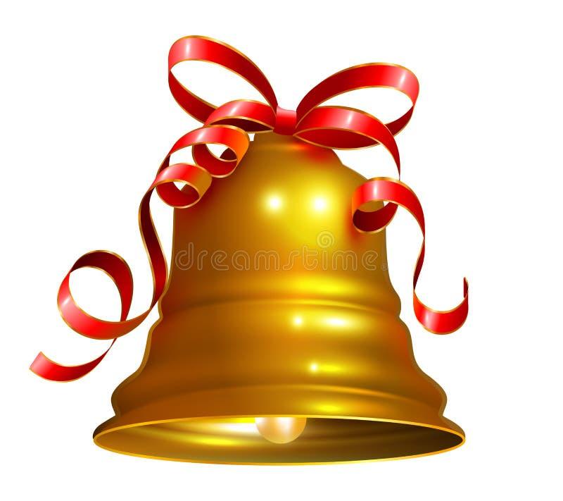 Goldene Glocke mit rotem Bandsymbol-Zusatzweihnachten stock abbildung
