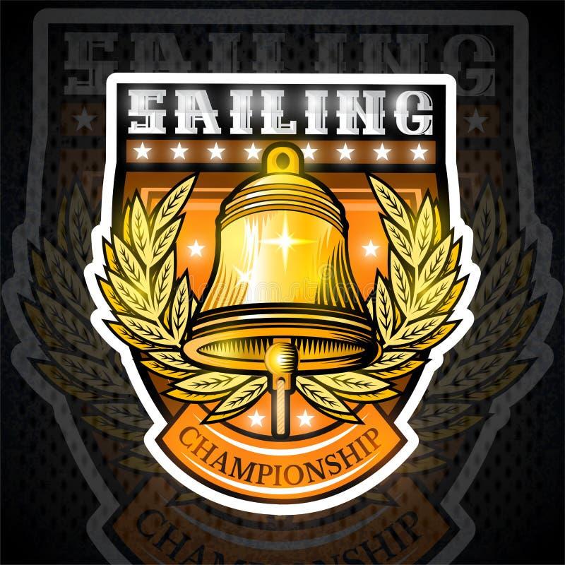 Goldene Glocke mitten in goldenem Kranz in der Mitte des Schildes Sportlogo für irgendeinen Segelsport oder segeln Team oder Meis stock abbildung