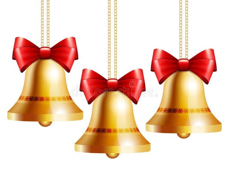 Goldene Glocken mit einem roten Bogen stock abbildung