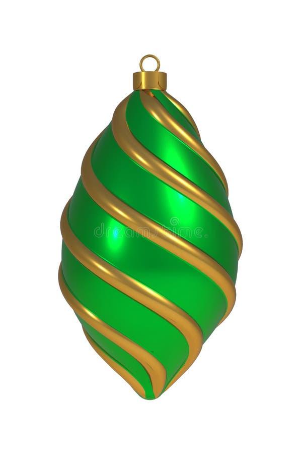Goldene gr?ne Windungslinien h?ngende Verzierungsandenken der Weihnachtsball Silvesterabenddekoration der Flitterwinterzeit vektor abbildung