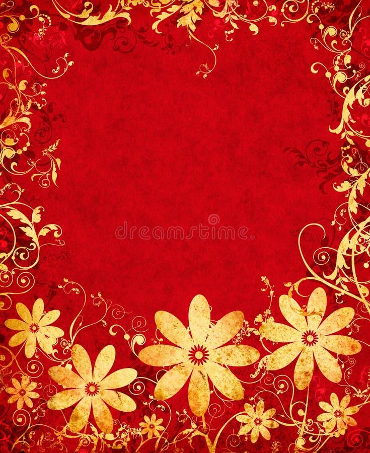 Goldene Grunge Blumen vektor abbildung