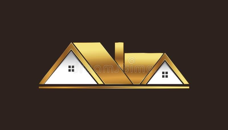Goldene Häuser für Verkaufs-Logo vektor abbildung