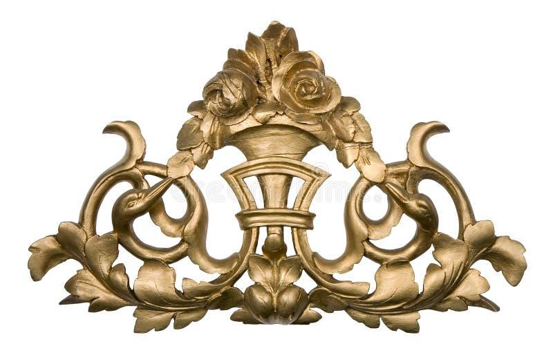 Goldene hölzerne Verzierung lizenzfreies stockfoto