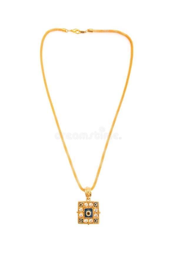 Goldene Halskette getrennt lizenzfreies stockfoto