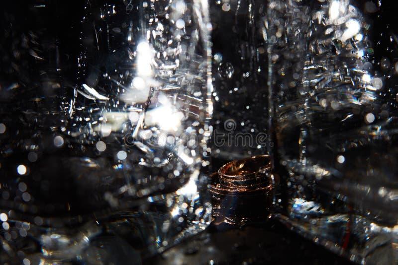 Goldene Hochzeits-Ringe lizenzfreie stockfotos