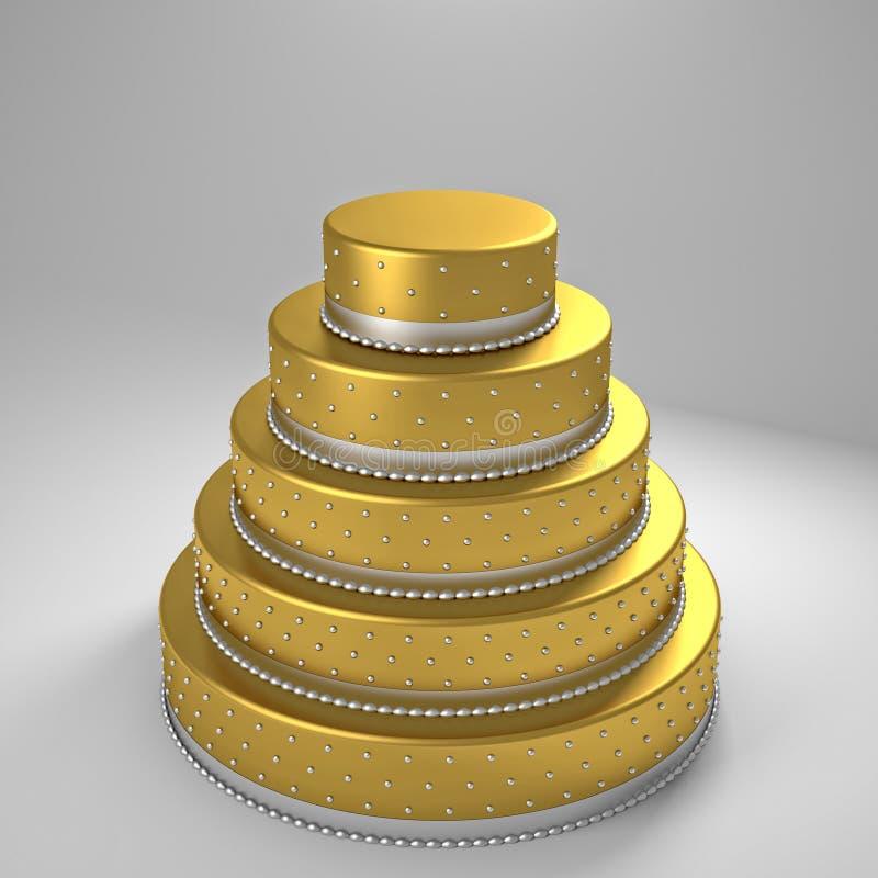 Goldene Hochzeitstorte vektor abbildung