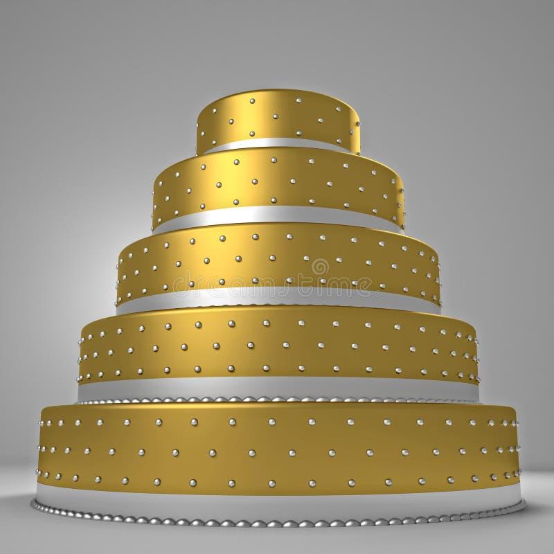 Goldene Hochzeitstorte stock abbildung