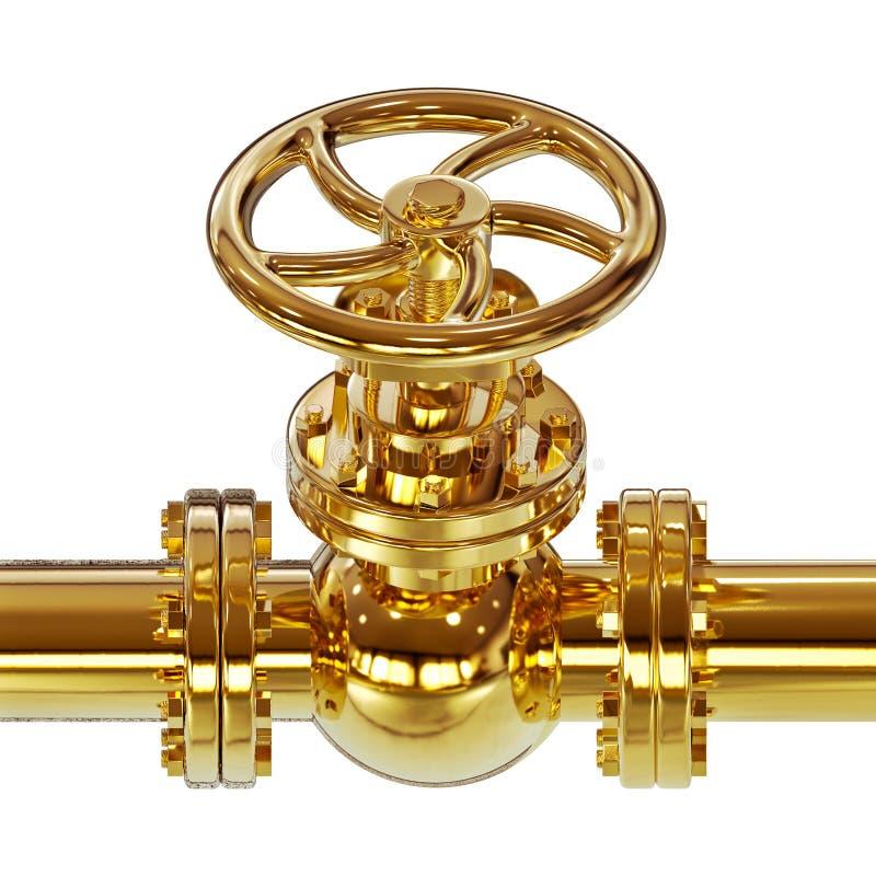 Goldene Illustration des Rohrventils 3D lizenzfreie abbildung