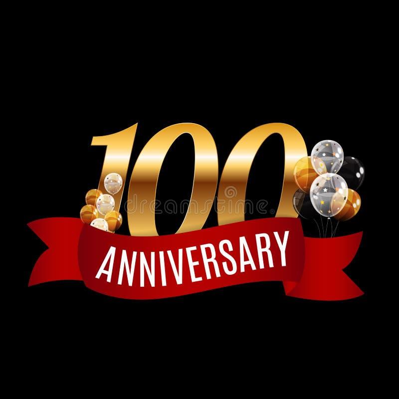 Goldene 100 Jahre Jahrestags-Schablonen-mit rotem Band-Vektor lizenzfreie abbildung