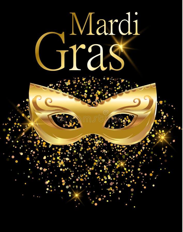 Goldene Karnevalsmaske Mardi Grass für Plakat, Grußkarte, Parteieinladung, Fahne oder Flieger auf schwarzem Hintergrund mit golde lizenzfreie abbildung