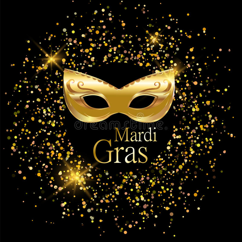Goldene Karnevalsmaske Mardi Grass mit Verzierungen für Plakat, Grußkarte, Parteieinladung, Fahne oder Flieger auf schwarzen Hint stock abbildung