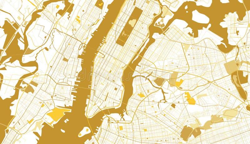 Goldene Karte New York City lizenzfreie abbildung