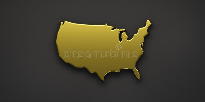 Goldene Karte USA Vereinigte Staaten 3d ?bertragen Abbildung vektor abbildung