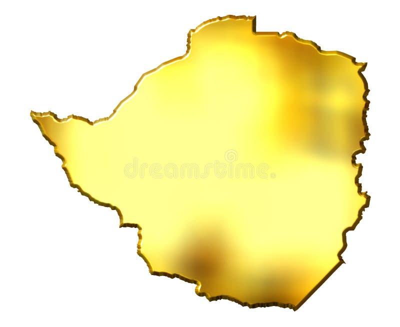 Goldene Karte Zimbabwe-3d vektor abbildung