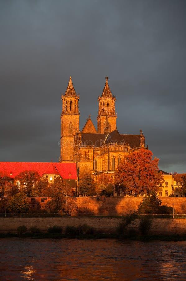 Goldene Kathedrale von Magdeburg und von Fluss Elbe bei Sonnenaufgang stockbild