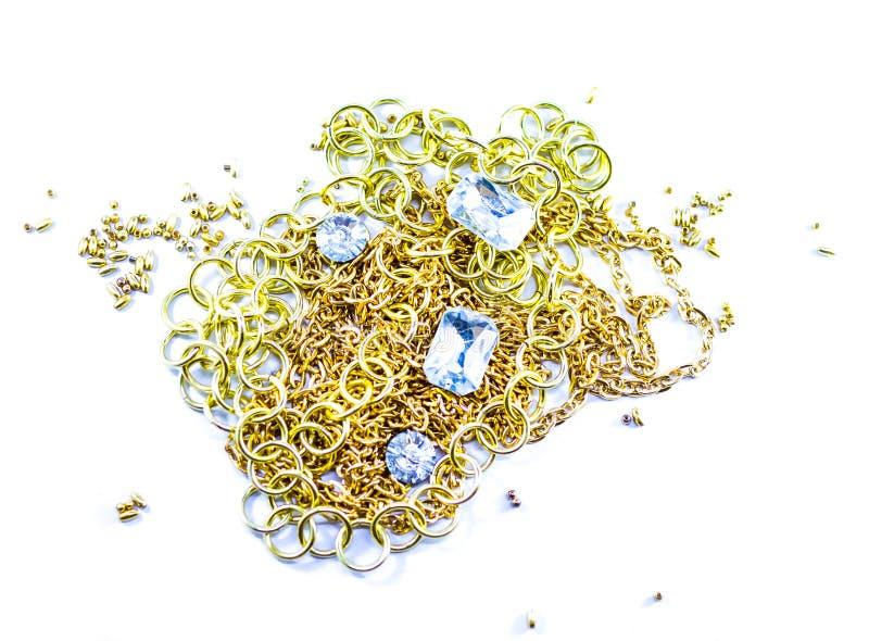 Goldene Kette und Diamant lizenzfreies stockfoto