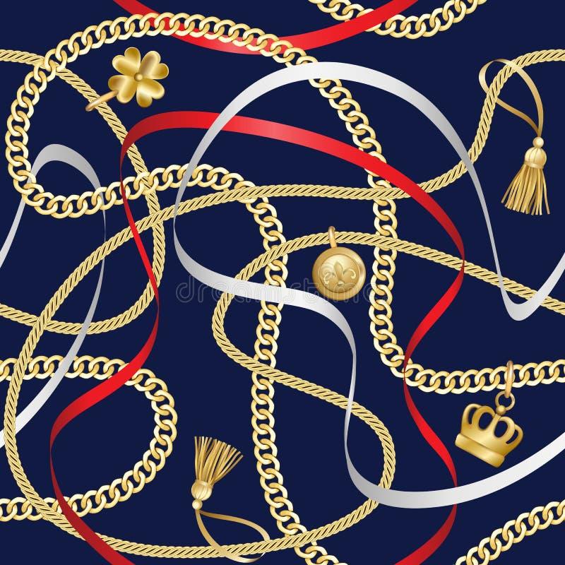 Goldene Ketten-nahtloses Muster auf blauem Hintergrund vektor abbildung