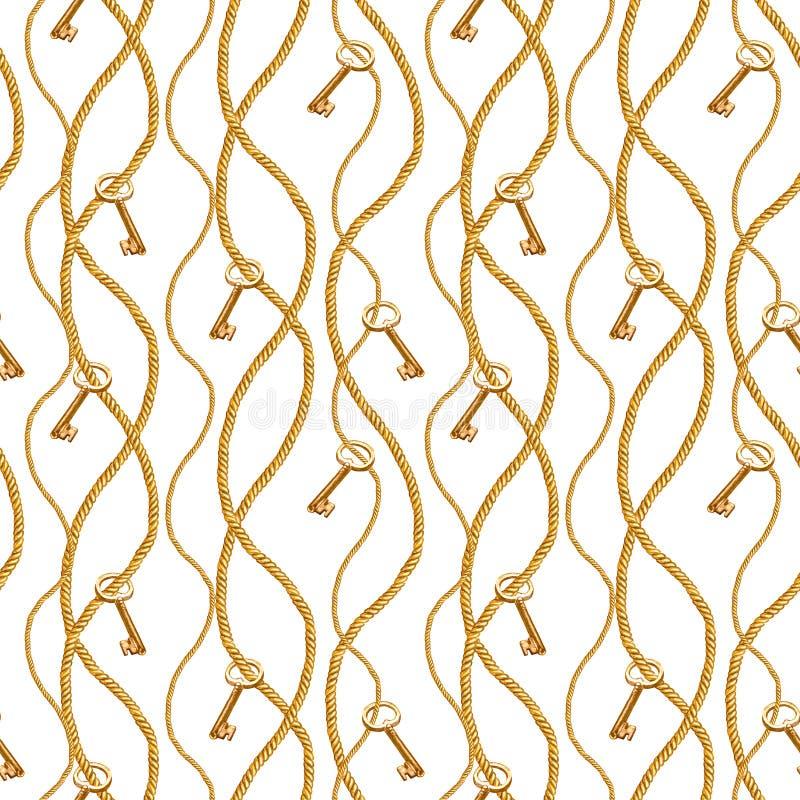 Goldene Kettennahtlose Musterillustration des zaubers Aquarellbeschaffenheit mit Seilschlüsseln der goldenen Ketten lizenzfreies stockfoto