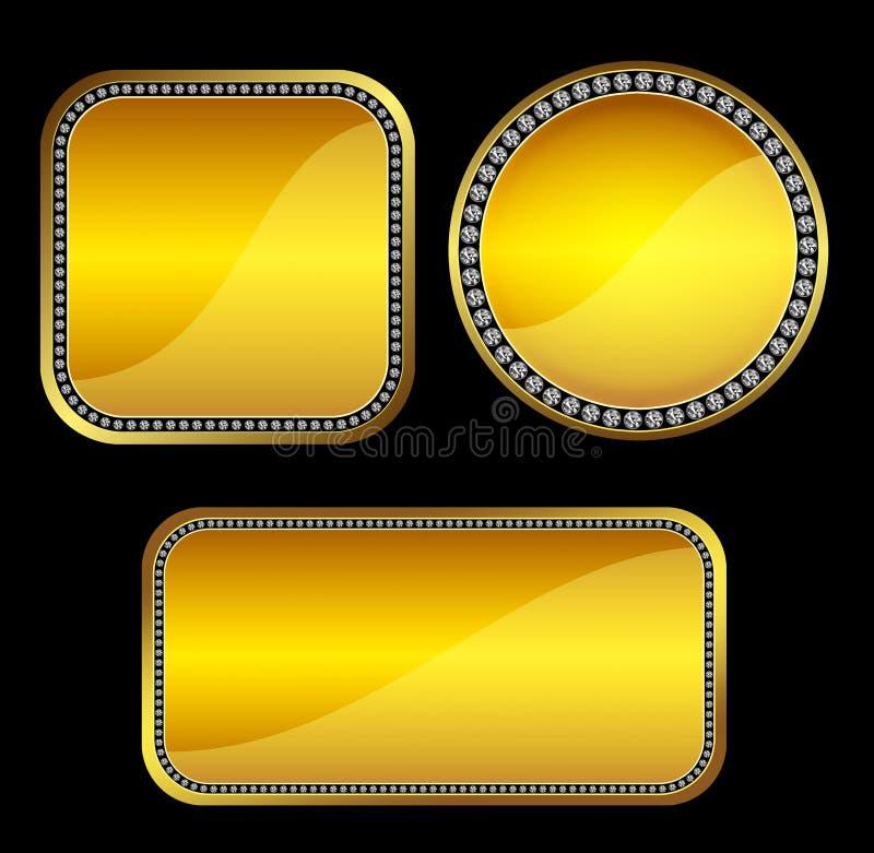 Goldene Knöpfe mit Edelsteinen stockfotografie