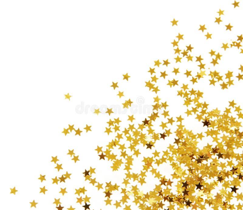 Goldene Konfettis stockfoto