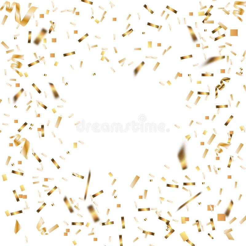 Goldene Konfettis Festlicher Hintergrund Weihnachtsgoldene Konfettis mit Band Neues Jahr, Geburtstag, Valentinsgrußtagesgestaltun lizenzfreies stockfoto