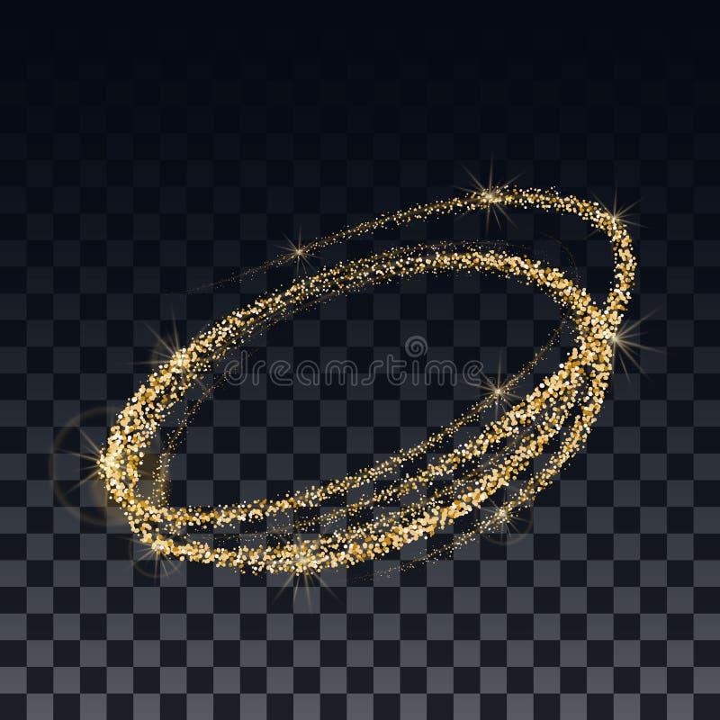 Goldene Konfettis und schimmernde Partikel auf einem transparenten Hintergrund Die Schablone für den Entwurf der Spirale lizenzfreie abbildung