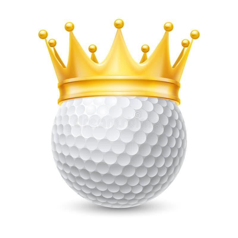 Goldene Krone auf Golfball vektor abbildung