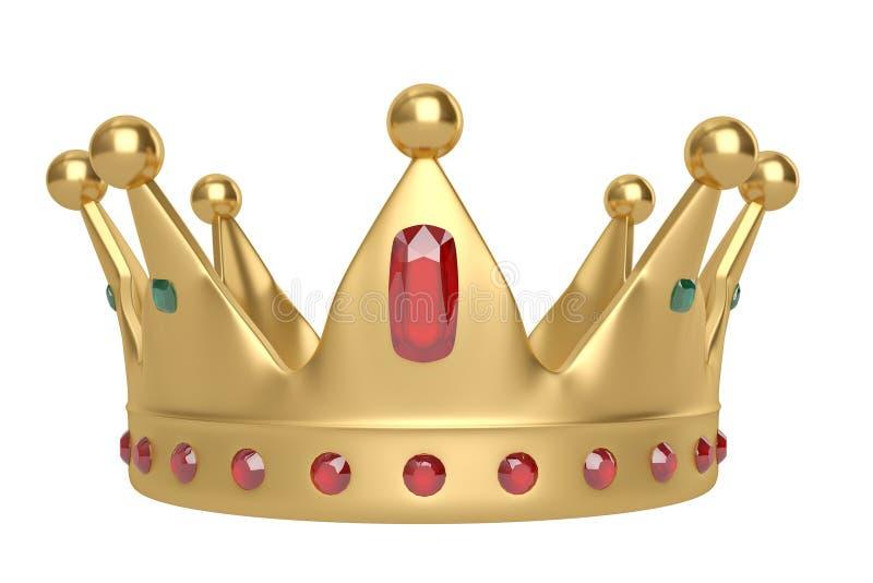 Goldene Krone auf weißem Hintergrund Abbildung 3D stock abbildung