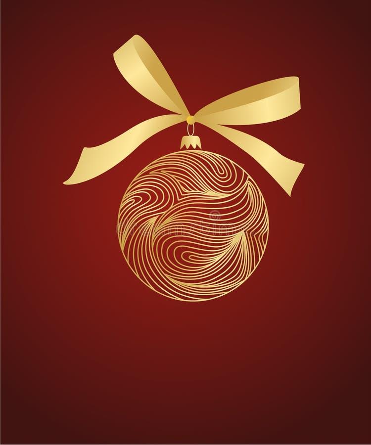 Goldene Kugel mit Bogen auf Rot vektor abbildung