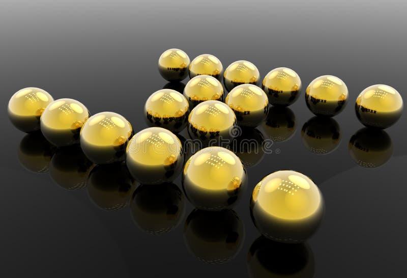 Goldene Kugeln stockfoto