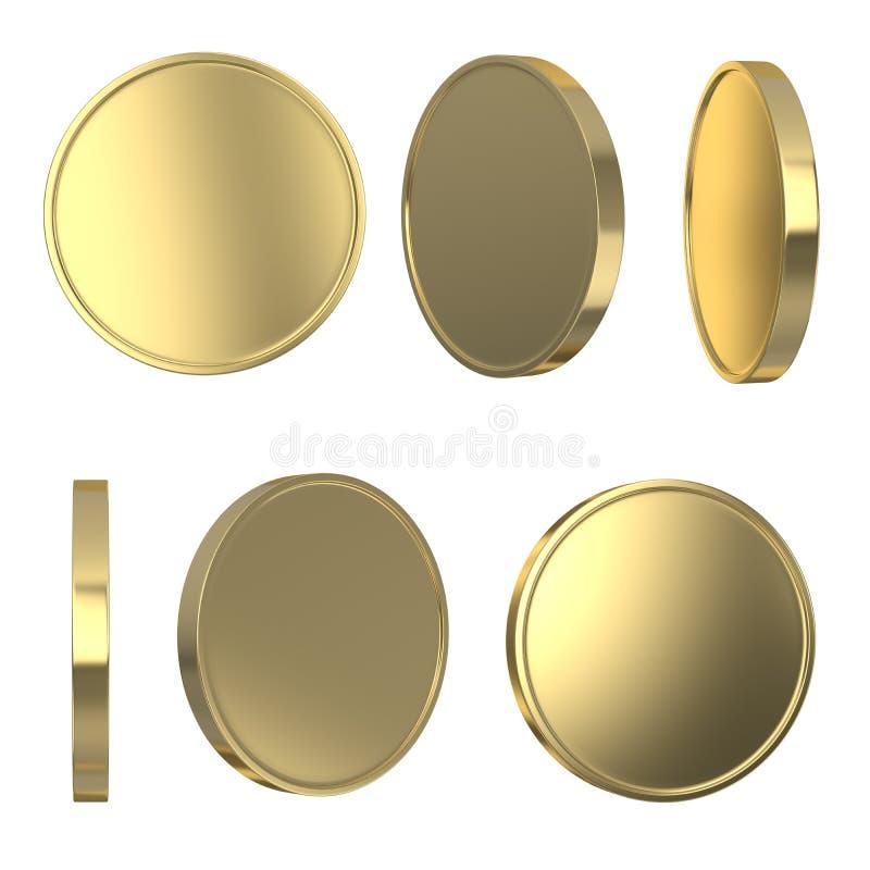 Goldene leere Münzen lizenzfreie abbildung