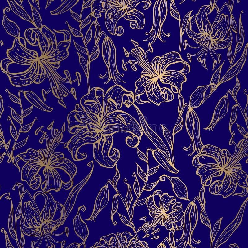 Goldene Lilien auf einem dunkelblauen Hintergrund Nahtloses Muster Vektor vektor abbildung