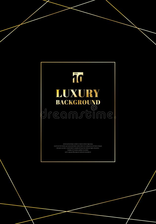 Goldene Linien des Schablonenentwurfs-Rahmens auf schwarzem Hintergrund Elegante modische Art- DecoLuxusart Sie können für Heirat lizenzfreie abbildung