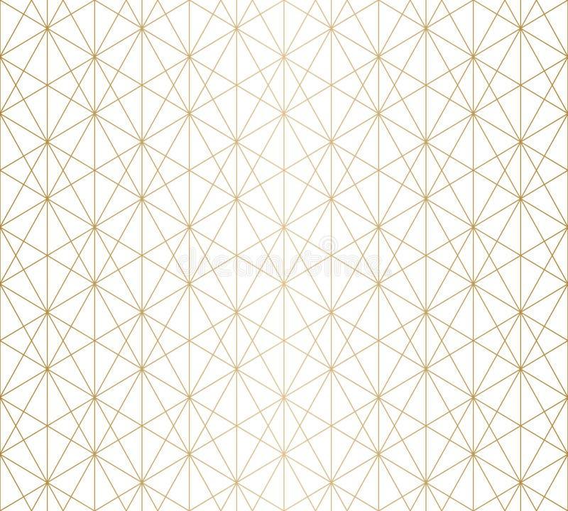 Goldene Linien Muster Subtiles Gold und weiße geometrische nahtlose Gitterbeschaffenheit stock abbildung