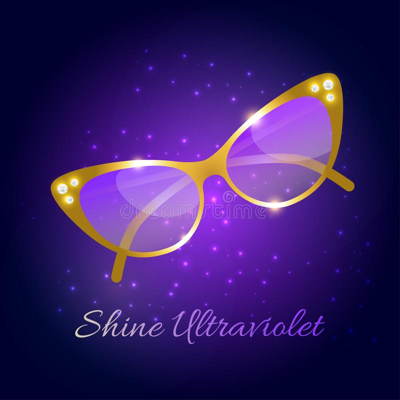 Goldene Luxussonnenbrille mit Diamanten und Text glänzen ultraviolettes